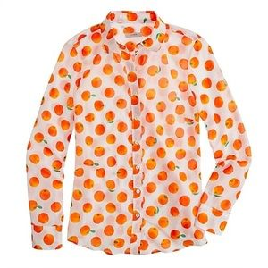 J.Crew long sleeve button-up tangerine print top